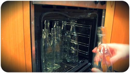 Stick your bottles or jars in the oven to sterlise them