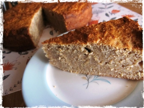 close up of a slice of pear bread