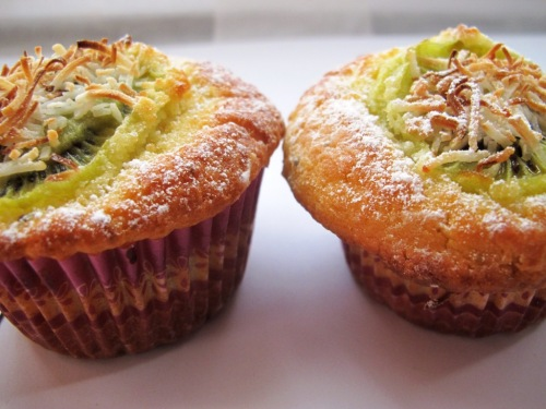 Two kiwifruit, lime and coconut muffins