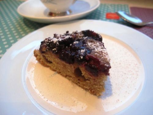 Slice of blueberry upside down cake