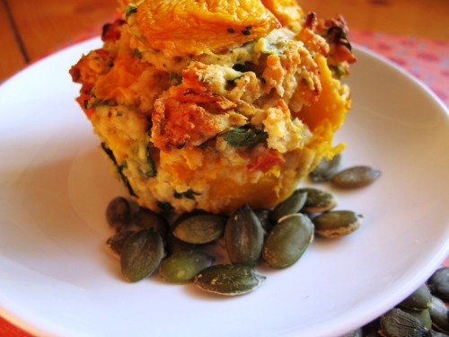 Pumpkin, spinach and semi-sundried muffins