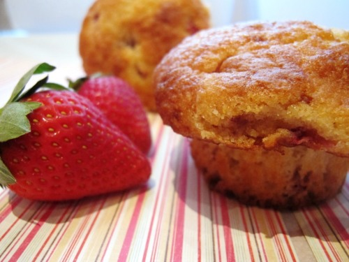 Strawberry cornmeal muffin