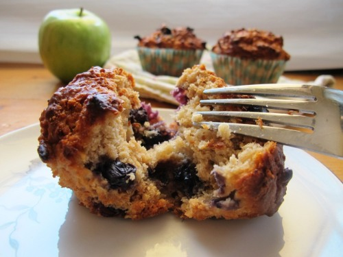 blueberry, apple oat muffin cut in half