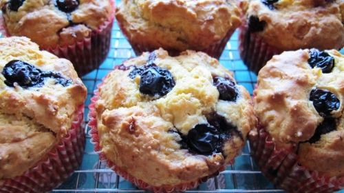 blueberry banana custard muffin