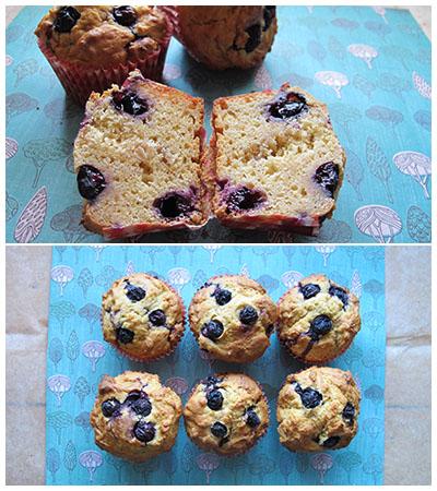blueberry banana custard muffin cut in half