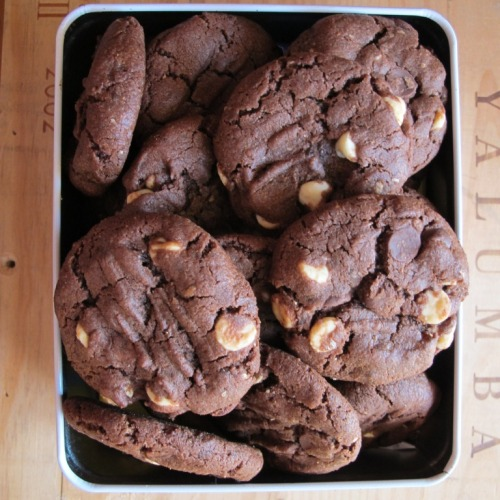 Mocha double chocolate cookies in a tin