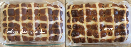 Before and after shots of the cooked loaf with and without glaze
