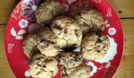 Toasted oatmeal pecan and chocolate cookies on aplate