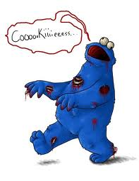 Cookie monster looking like a zombie with the caption 'coooookieeees'