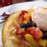 Pankcakes and fruit withicecream