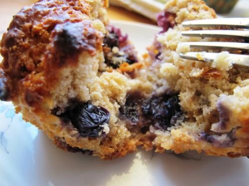 blueberry, apple oat muffin cut in half