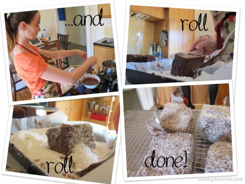 and roll, roll the lamingtons in coconut