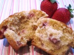 Low fat strawberry cornmeal muffin