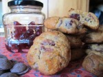 Cookies with a jar of cherries