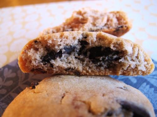 Sweetened condensed milk chocolate chip cookie broken open